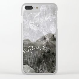 A cloud of white birds Clear iPhone Case