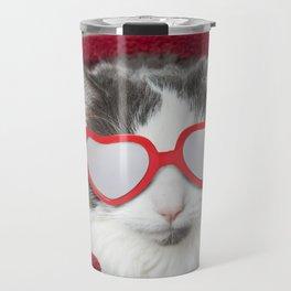 Cat in Heart Glasses Bundled in Blanket Travel Mug