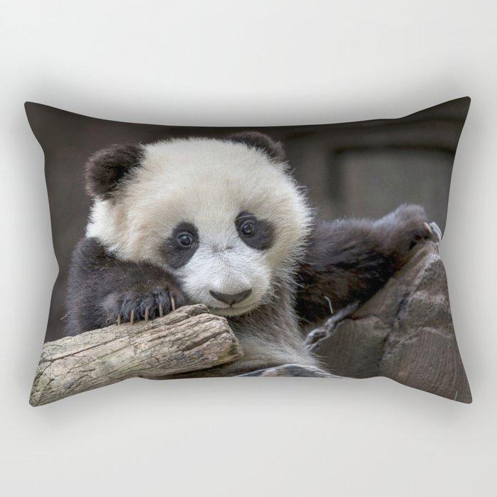 Baby panda climb a tree Rectangular Pillow