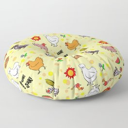 Cute seamless chickens pattern cartoon Floor Pillow