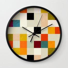 modern mid century chequers Wall Clock