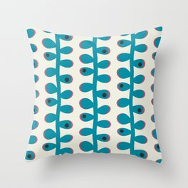 Blue Leaves Plant Throw Pillow