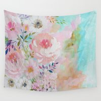 craftberrybush Wall Tapestries featuring Acrylic rose garden  by craftberrybush