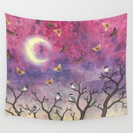 chickadees and io moths in the moonlit sky Wall Tapestry