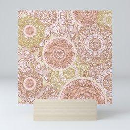 Rosey Gold Mandalas Mini Art Print