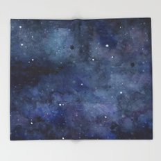 Night Sky Stars Galaxy | Watercolor Nebula Throw Blanket