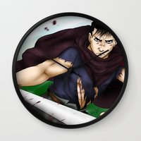 berserk Wall Clocks featuring Guts - Berserk Fan Art by River Kai