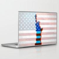 patriots Laptop & iPad Skins featuring statue of liberty / USA by Marta Olga Klara