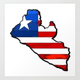 Liberia Map with Liberian Flag Art Print
