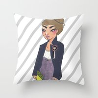 bee and puppycat Throw Pillows featuring Bee by Kimberly Palmer