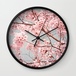 blossoms all over ~ color option pink Wall Clock