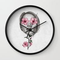hibiscus Wall Clocks featuring Hibiscus by Michaela Ramstedt