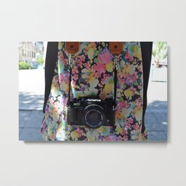 50 mm camera and flowers Metal Print