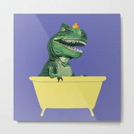 Playful T-Rex in Bathtub in Purple Metal Print