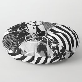 Black And White Choas - Mutli Patterned Multi Textured Abstract Floor Pillow