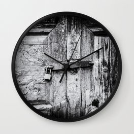 Doors of the World | Close-up Wooden Door with key lock in Crete, Greece, Europe | Black & White | Travel Photography | Photo Print | Art Print Wall Clock
