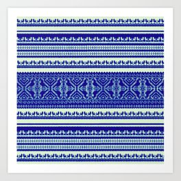 nordic pattern with singing birds in blue Art Print