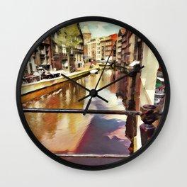Amsterdam Waterways Painting Wall Clock