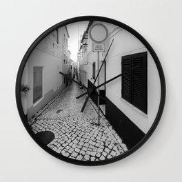 Nazare Side Street BW Wall Clock