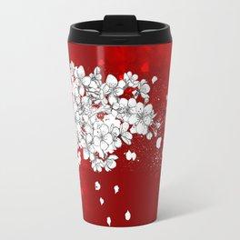 Red skies and white sakuras Travel Mug