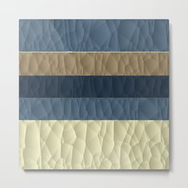 Cool Blue Taupe Color Pallet Quilted Texture Design Metal Print