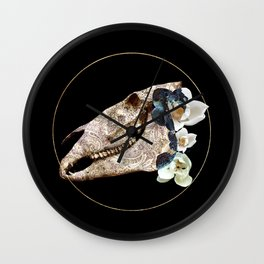 Paisley Horse Skull And Magnolia Wall Clock