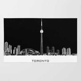 Toronto Skyline - White ground / Black Background Rug