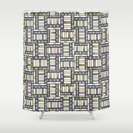 Art Deco abstract geometric stained glass pattern Shower Curtain