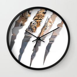Tiger drinking water inside claw marks Wall Clock