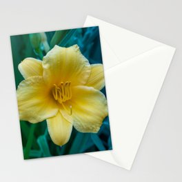 Yellow Day Lily on Green Blue Background Stationery Cards
