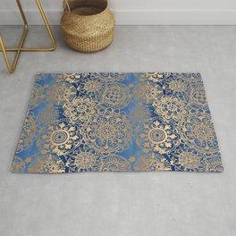 Blue and Gold Mandala Pattern Rug