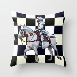 Knight on white horse with Chess board Throw Pillow
