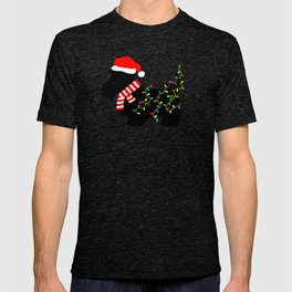 Christmas Scottie Dog With Lights T-shirt