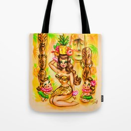 Pineapple Island Girl with Tikis Tote Bag