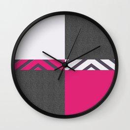 Monochrome Pink Tiles Wall Clock