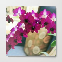 Pink Purple Magenta Orchids In Contemporary Vase Metal Print