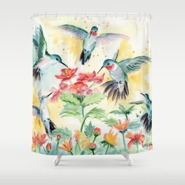 Hummingbird Party Shower Curtain