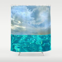 seascape 006: solo flight over swimming pool Shower Curtain