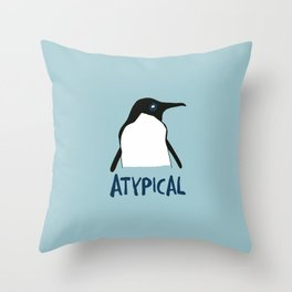 Atypical penguin Throw Pillow