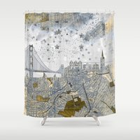 san francisco map Shower Curtains featuring San Francisco skyline old map by Paula Belle Flores