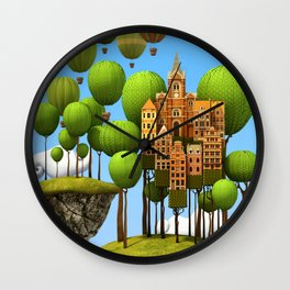 New City in the Sky Wall Clock