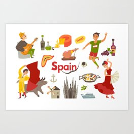 Spain traditional symbols set. Travel tourist element.Traditional spainish corrida, flamenco, guitar Art Print