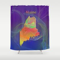 maine Shower Curtains featuring Maine Map by Roger Wedegis