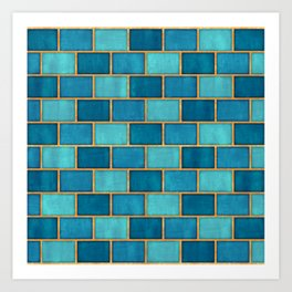 Ocean Blue Watercolor Subway Tiles Art Print