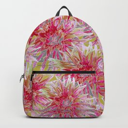 Pink dahlias on yellow Backpack