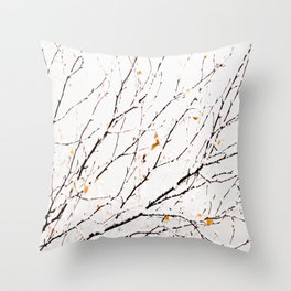 Snowy birch twigs and leaves #society6 #decor #buyart Throw Pillow