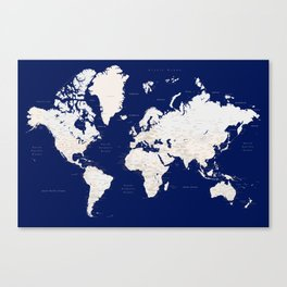 "Navy blue and light brown detailed world map ""Gavin"" Canvas Print"