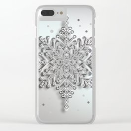snow crystal Papercut Clear iPhone Case