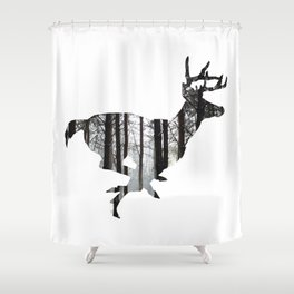 Deer forest winter silhouette Shower Curtain