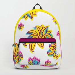 Vivid Summer with Colorful Tropical Flowers Backpack